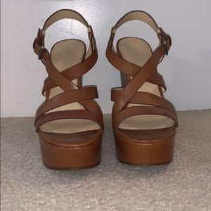 Brown strap leather platform wedge